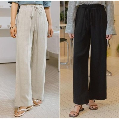 common unique レディース パンツ Drawstring Waist Wide Leg Pants