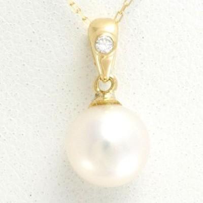 K18 18金 YG イエローゴールド ネックレス パール ダイヤ 総重量約1.2g 中古ジュエリー