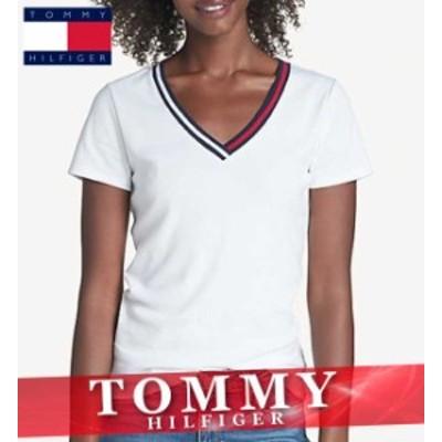 トミーヒルフィガー Tシャツ 半袖 Vネック レディース ウィメンズ エッセンシャル XS~XL トップス 新作 TOMMY