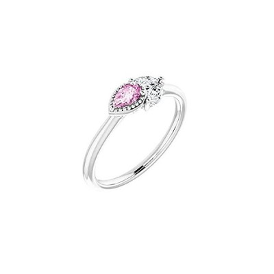Solid 925 Sterling Silver Solitaire Pink Sapphire and 1/8 Cttw Diamond Ring