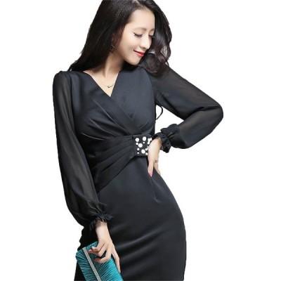 ミニドレス予約大きいサイズカシュクール異素材ビジュー縫製ワンピース黒青ピンクS-3L YJ-6673   送料無料