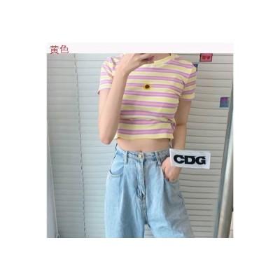 【送料無料】夏 韓国風 小 個 息子 半袖Tシャツ 着やせ 色付きのストライプ 短い | 364331_A62830-8064470