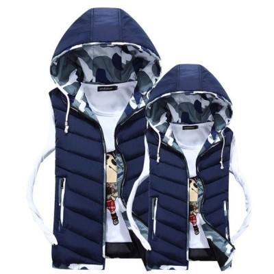 3色 メンズベスト ダウンベスト 中綿ベスト 中綿コート キルトコート ジャケット 男女兼用 フード取り外せ可能 迷彩柄  厚手