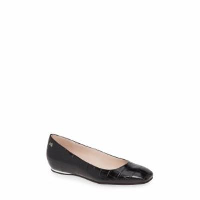 カルバンクライン CALVIN KLEIN レディース スリッポン・フラット シューズ・靴 Heidy Skimmer Flat Black Croco Embossed Leather