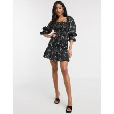 エイソス レディース ワンピース トップス ASOS DESIGN cotton poplin shirred mini dress with lace up back in floral print Black bas