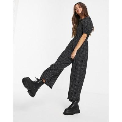 ミスガイデッド レディース ワンピース トップス Missguided culotte jumpsuit in black polka dot