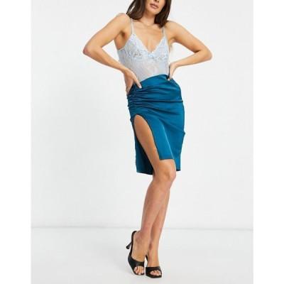 ナーナー NaaNaa レディース ひざ丈スカート スカート Bardot Satin Split Front Midi Skirt Co Ord ティール