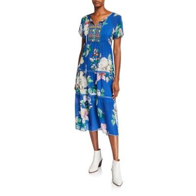 ジョニーワズ レディース ワンピース トップス Petite Holly Floral Short-Sleeve Tiered Mid-Calf Dress