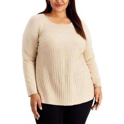 アルファニ Alfani レディース ニット・セーター 大きいサイズ トップス Plus Size Metallic Ribbed-Knit Sweater Cocoa Butter