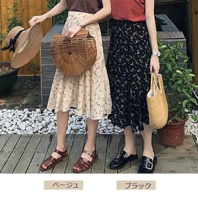 ボリュームスカート 花柄 スカート体型カバー ロングスカート ハイウエスト大人気