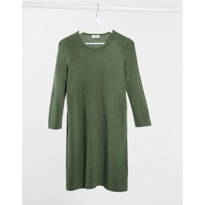ジェイディーワイ レディース ワンピース トップス JDY Friends 3/4 sleeve knitted sweater dress in dark green Thyme