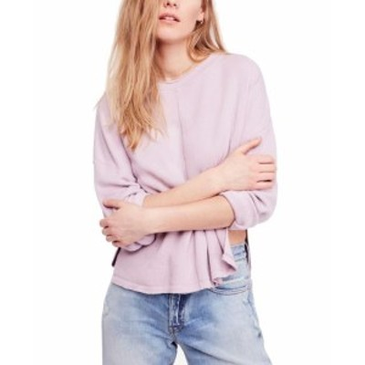 Free People フリーピープル ファッション トップス Free People Womens Purple Size Large L Side Splits Pullover Sweater