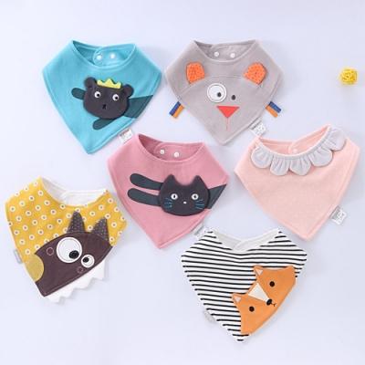 Baby童衣 立體卡通兒童三角巾 嬰兒雙層純棉口水巾 立體繡花圍兜 88492