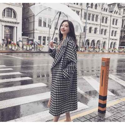 韓国ファッション チェスターコート チェック柄 千鳥格子 大人可愛い ゆったり あったかい 上品 フォーマル オーバーサイズ ロング丈 レ