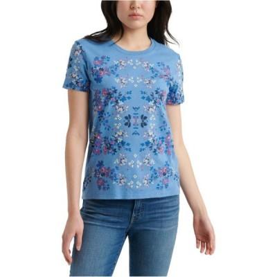 レディース 衣類 トップス Lucky Brand Womens Floral Graphic T-Shirt Blue Large Tシャツ