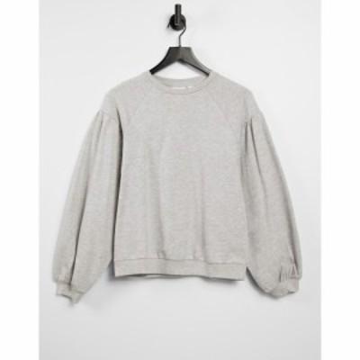 オンリー Only レディース スウェット・トレーナー トップス Sweatshirt With Volume Sleeves In Grey グレー