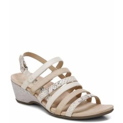 バイオニック レディース サンダル シューズ Tess Snake Print Leather Cork Wedge Sandals Cream