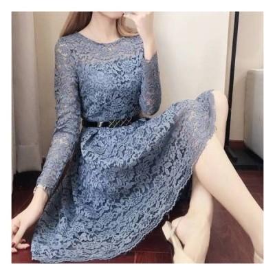 パーティードレス 結婚式 二次会 ワンピース 結婚式 お呼ばれドレス ワンピースドレス 袖あり レース 可愛い きれいめ 大きいサイズ xl 2xl  10代