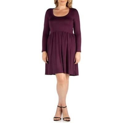 24セブンコンフォート レディース ワンピース トップス Plus Size Casual Long Sleeve Pleated Dress