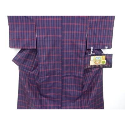 宗sou 未使用品 格子織り出し本場泥大島紬着物アンサンブル【リサイクル】【着】