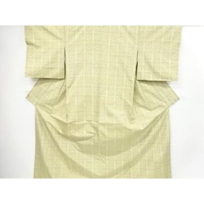 宗sou 格子模様織り出し手織り紬着物【リサイクル】【着】
