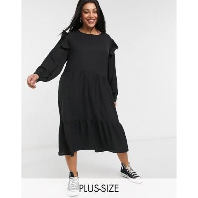 ウェンズデーガール ドレス 大きいサイズ レディース Wednesday's Girl Curve midi dress with frill detail エイソス ASOS ブラック 黒