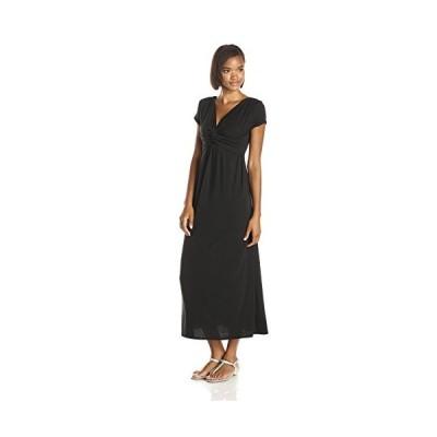 スター Vixen レディース ショート スリーブ ツイスト フロント ニット Maxi ドレス, ブラック ソリッド, Medium(海外取寄せ品)