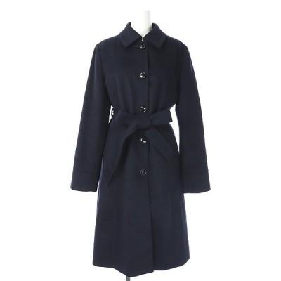 【中古】パーフェクトスーツファクトリー P.S.FA ウール混 ロングコート ステンカラー アウター リボンベルト付き 11AR 黒 ブラック 【ベクトル 古着】