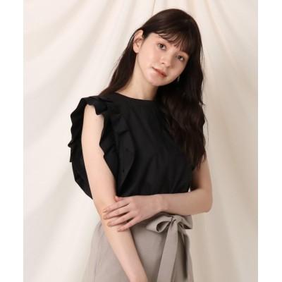 【クチュールブローチ】 フリルスリーブブラウス レディース ブラック 38(M) Couture Brooch