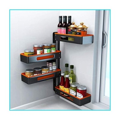 4 Tier Kitchen Revolving Spice Rack Organiser Wall Mounted, Kitchen Organizer Rack, Capacity Frame for Spices, Condiments【並行輸入品】