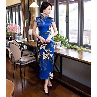 ベトナム チャイナドレス コスプレ衣装 アオザイ 半袖ワンピース ロング ワンピース 花柄 コスチューム チャイナ服 大きサイズ  花柄 890