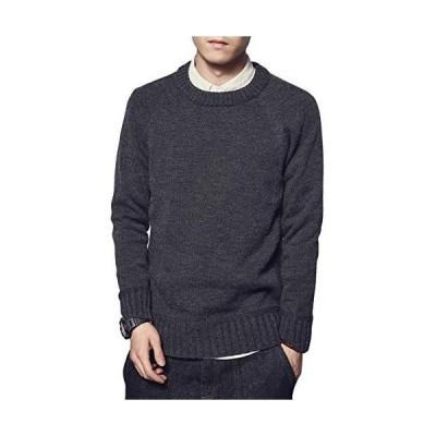 (ハバー)Habor ニット セーター メンズ カットソー 長袖 丸首 綿 大きいサイズ カジュアル クルーネック 防寒 (グレー M)