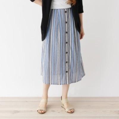 シューラルー(レディス)(SHOOLARUE Ladies)/【フリーサイズ】ストライプミモレ丈スカート