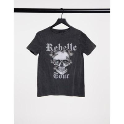 ニュールック レディース シャツ トップス New Look grunge skull boyfriend t-shirt in acid washed black Black