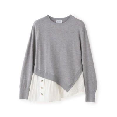 CAST:/キャスト コロン ◆◆シャツレイヤードコントラストニット グレー3 M