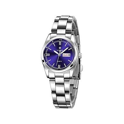 特別価格レディースクラシックファッションシルバーステンレススチールウォッチ 防水 日付表示 夜光 レディースドレス腕時計 8824 Blue好評販売中