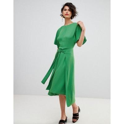 ウエアハウス レディース ワンピース トップス Warehouse Kimono Sleeve Knot Front Midi Dress Green