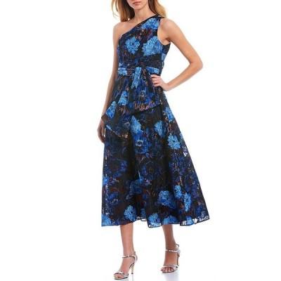 アイダンマットックス レディース ワンピース トップス One Shoulder Draped Floral Jacquard Gown Blue Mutli