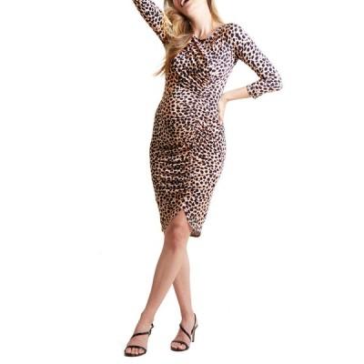 イングリッド&イザベル レディース ワンピース トップス Maternity Leopard 3/4-Sleeve Front Shirred Dress
