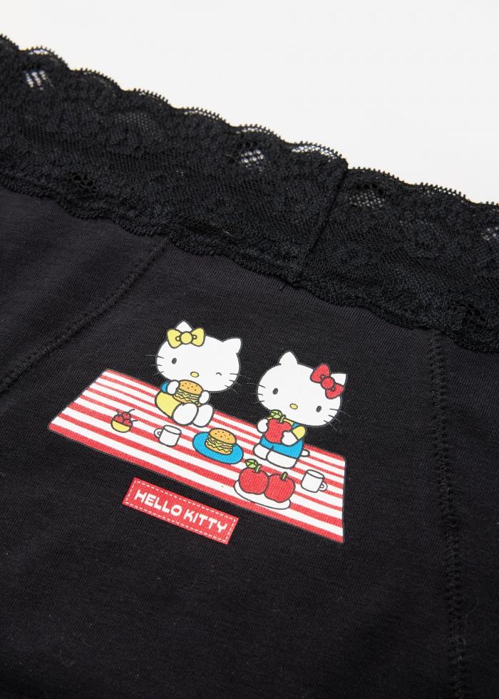 Hello Kitty系列.蕾絲高腰生理褲(黑-漢堡野餐)