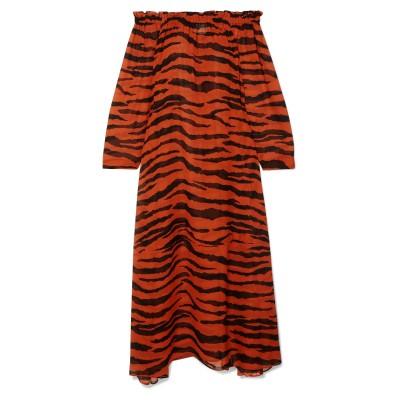ON THE ISLAND by MARIOS SCHWAB ビーチドレス ブラウン 40 シルク 100% ビーチドレス