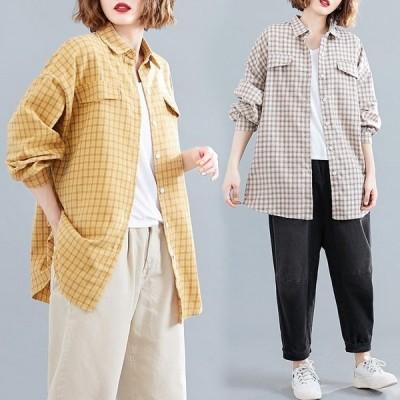 2020秋 新品 カジュアル 長袖 チェック柄 カーディガン 着やせ ゆったり 大きいサイズ シャツ ブラウス 3色 F