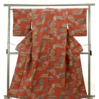 小紋 正絹 三代目更勝作 四季花幾何模様 身丈161cm 裄丈65cm 小紋 良品 リサイクル 着物
