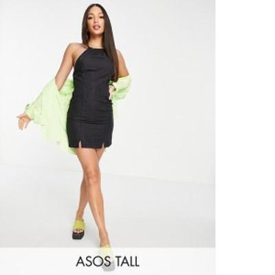 エイソス レディース ワンピース トップス ASOS DESIGN Tall soft denim halterneck slip dress in black Washed black