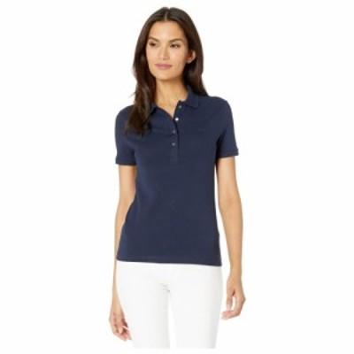ラコステ Lacoste レディース ポロシャツ 半袖 トップス Short Sleeve Slim Fit Strech Pique Polo Navy Blue