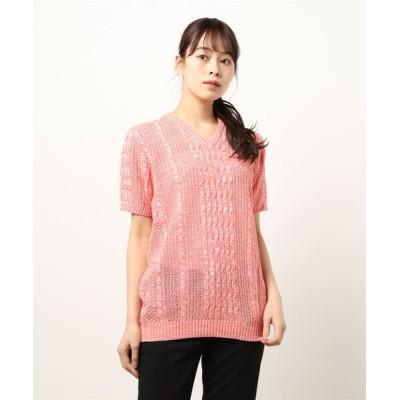 realize / 【Bk】ニット 綿麻VネックTシャツ WOMEN トップス > ニット/セーター