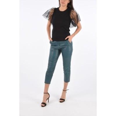 BRUNELLO CUCINELLI/ブルネロクチネリ Blue レディース Leather High Waist Cropped Pants dk
