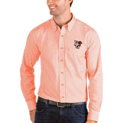 ユニセックス スポーツリーグ アメリカ大学スポーツ Bowling Green St. Falcons Antigua Structure Woven Button-Up Long Sleeve Shirt