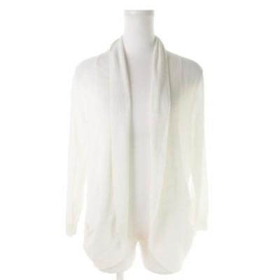 【中古】エニィスィス エニシス anySiS カーディガン ニット トッパー ショールカラー 七分袖 2 白 ホワイト
