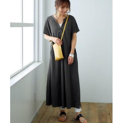 接触冷感Vネックカットソーワンピース (ワンピース)Dress